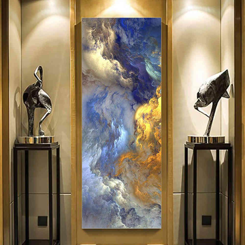 Abstract Unreal Blue Landscape Oil Paintings on Canvas Wall Art Poster and Prints Hanging Pictures for Modern Living Room Decor