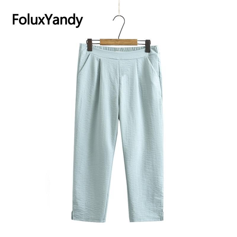 Yaz Pantolon Kadın Pantolon Artı Boyutu 3 4 5 XL Rahat Kadın Kalem Pantolon KKFY5406 210515