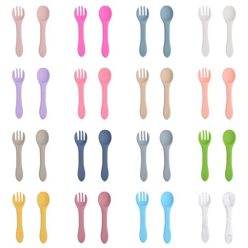 Cuchara de silicona de calidad alimentaria Tenedor para niños Vajilla Suplemento de bebé