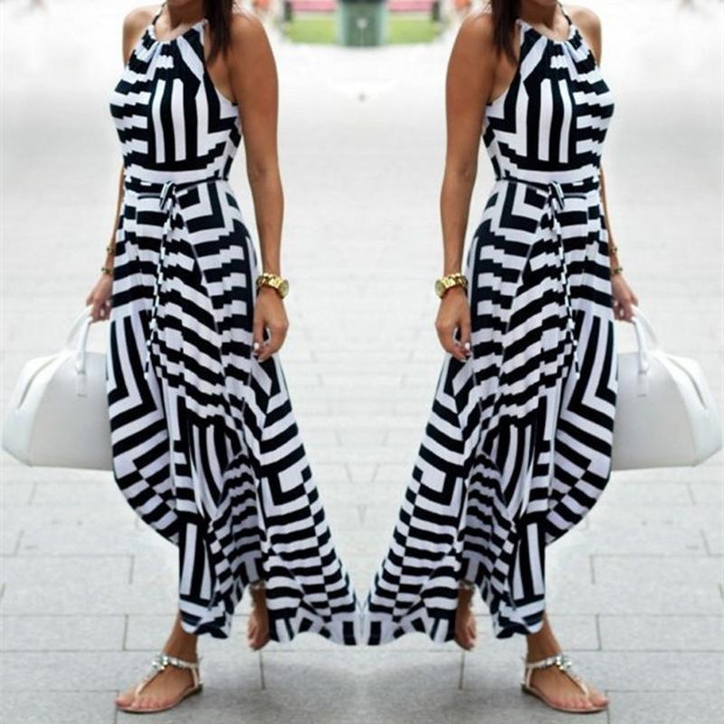 Women Dress Striped Summer Maxi Long Sexy Sleeveless Casual Slim Fashion Boho Evening Party Beach Female Vestidos Sundress #40 Dresses