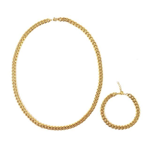 Internet celebrità gioielli catena collane donne uomini neutrali collana e braccialetto abiti argento oro colore ottone materiale moda stile moda