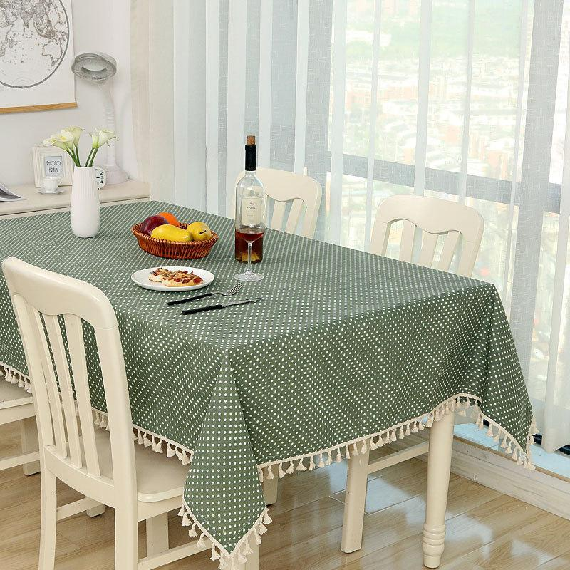 Table Cloth Home Dot Plaid Dinner Rectangular Antiderapant Tablecloth Kitchen Tischdecke Decor Stripe Cover Lace Tassel