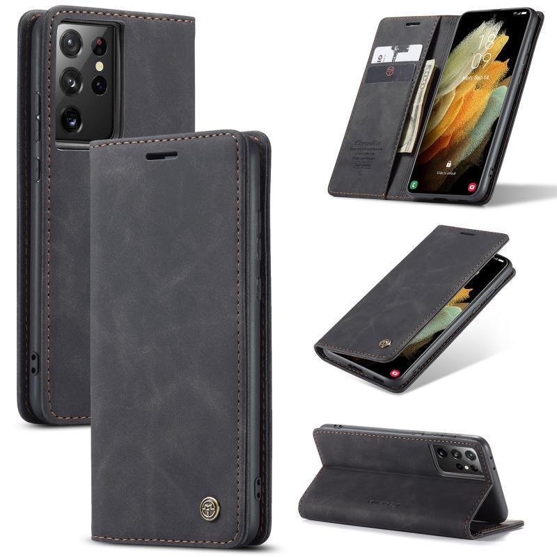 Pour Galaxy S21 Ultra Plus 5G Housse en cuir, CaseMe Rétro bourse luxe Magneti Porte-cartes Porte-monnaie de couverture de téléphone cellulaire cas