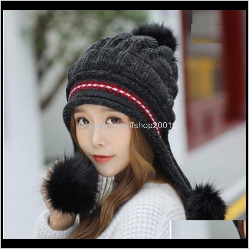 قبعة / جمجمة قبعات القبعات، والأوشحة قفازات ولديسة الشتاء القبعات للنساء محبوك الصوف بيني الدافئة وسميكة الأزياء قبعة بلون مع