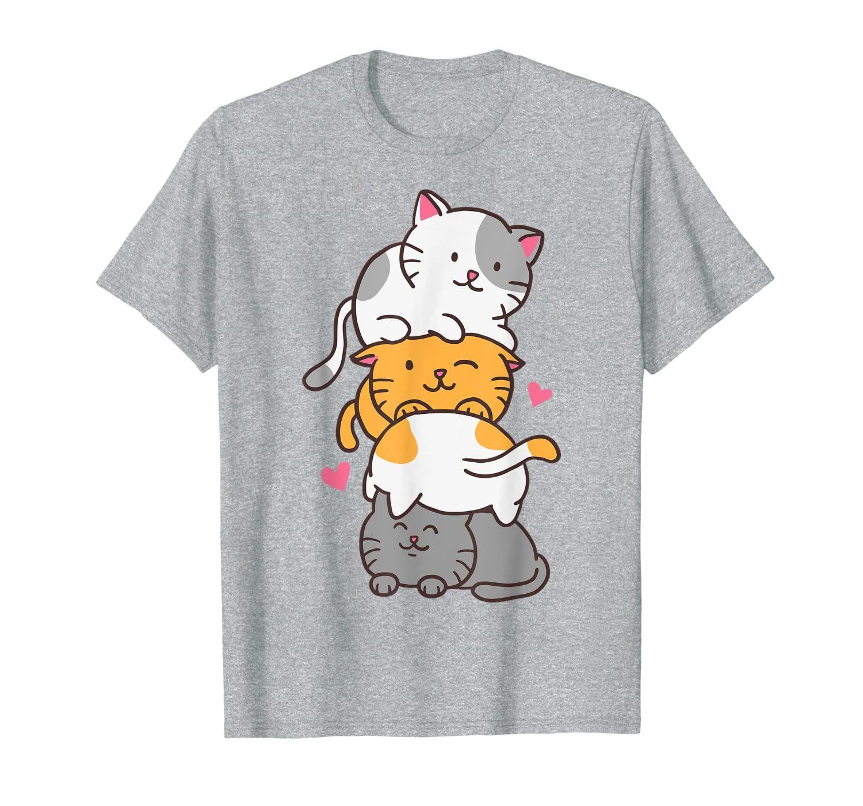 Cat Cats Meowtain Cute Kitty Pile Anime Kawaii Neko Gift T-Shirt