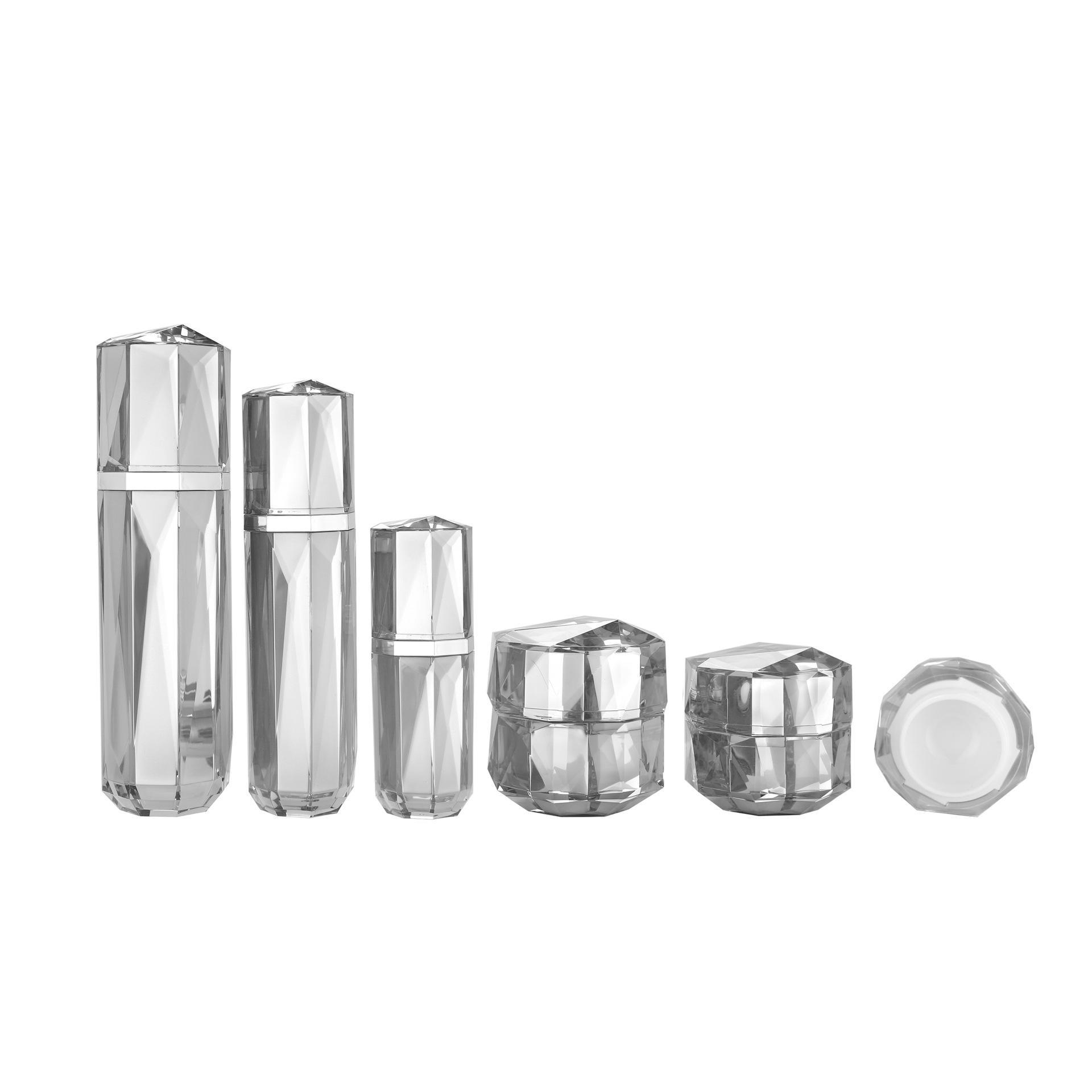 Face Cream Bouteilles Diamant Formes acryliques Soins de la peau Atomizer Contenants Conteneurs Silver Lotion haut de g devection Matériaux d'emballage cosmétique Logo Personnalisable
