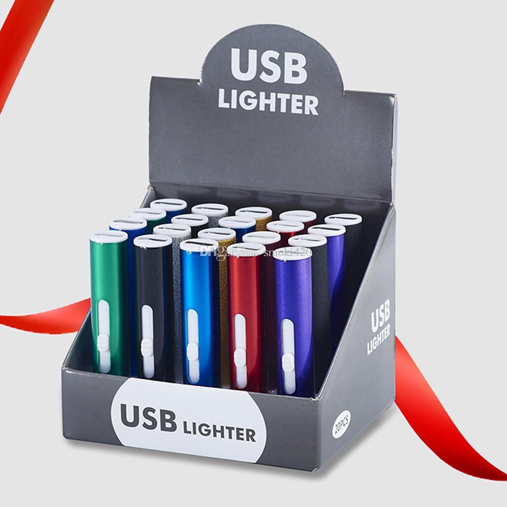USB Cigarrillo de doble cara Interruptor encendedor Cigarrillos Mini Protable Calentador Strip Lighters A prueba de viento Sin fllamenta recargable electrónico para fumar Smoki420