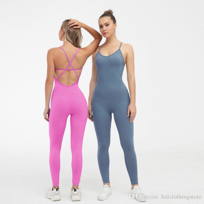 Fitness Frauen Sportanzug Overall 2021 Sexy Sleeveless Trainingsanzug Yoga Set Backless Sling Cross Deep V Hals Sleeveless Fitness Strampler