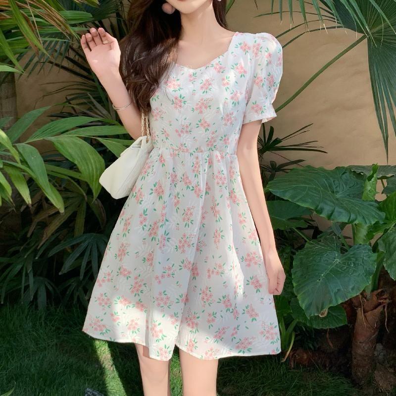 Sommer Süße Blumenkleider für Frauen 2021 Elegante Backless V-Neck Bogen Mid Dress Party