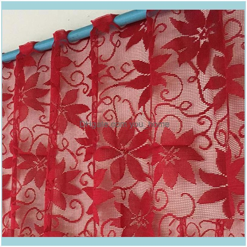 Deco El Supplies Home Garden1Pc Europe Red Lace Curtain Window Tulle Curtains For Living Room Kitchen Modern Treatments Voile Christmas Deco