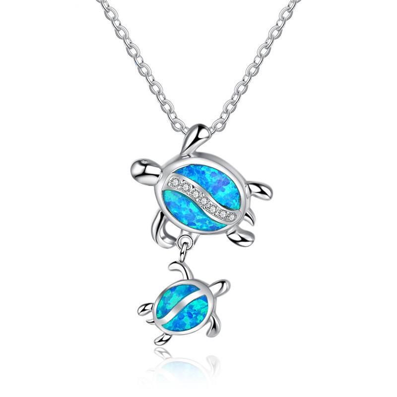 Fashion Silver rempli Blue IMitati Opal Turtle Pendentif Collier pour femme Femme Animal Mariage Ocean Beach Bijoux Cadeau1 447 Q2