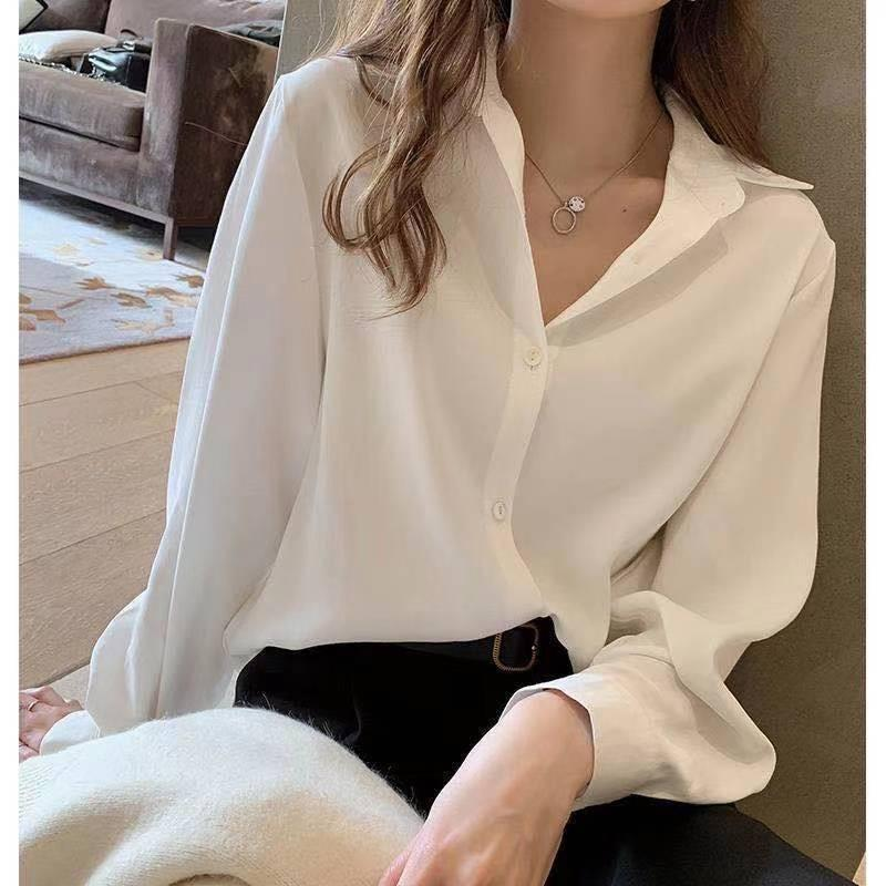 White shirt women's Korean version small size loose professional suit bottom shirt chiffon shirt