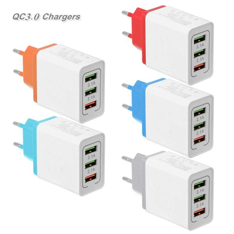 Adattatore colorato 3USB Adattatore Quick Caricatore US EU Plug Caricabatterie Plug Tappi 3Ports 2.1A-3.1A per cellulare intelligente