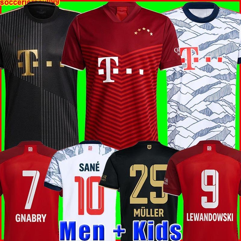 Bayern Munich munchen 21 22 LEWANDOWSKI SANE camisa de futebol COMAN MULLER GNABRY DAVIES camisa de futebol masculino + infantil uniformes kit MUNCHEN 2021 2022 raça humana quarto