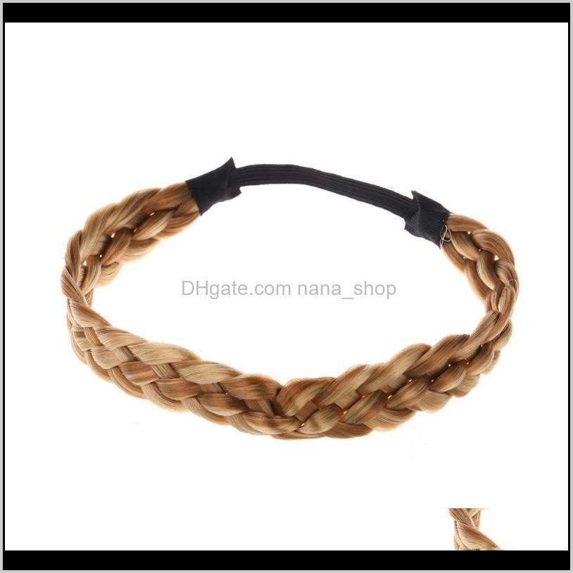 Aessories ferramentas produtos Drop entrega 2021 3Dot5 cm largo peruca sintética torção elástica faixa de cabelo boéman trança headband para mulheres fd fssl5