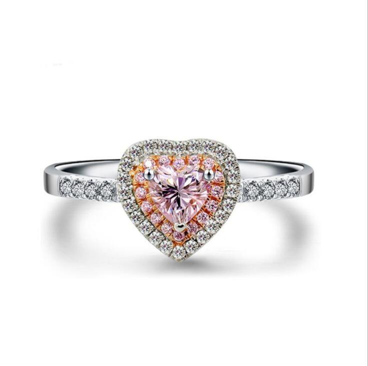 Toptan El Yapımı Choucong Lüks Takı 925 Ayar Gümüş Pembe Safir Parti Açacağı Ayar Gemstones CZ Kadınlar Düğün Kalp Yüzük Hediye