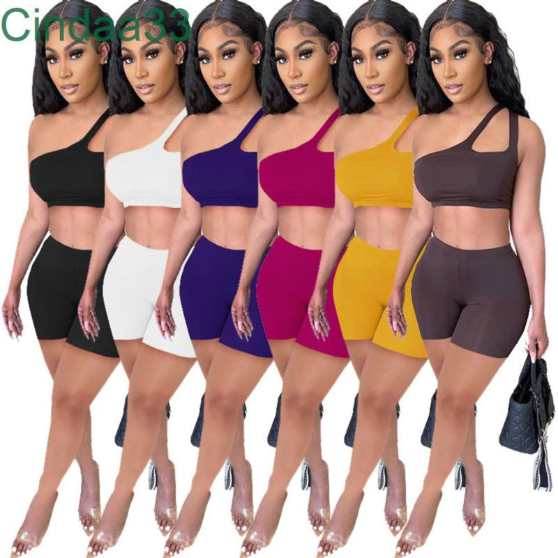 Kadın Eşofman İki Adet Set Tasarımcı Katı Renk Sling Omuz Asılı Açık Oryantal Seksi Ince Spor Suit Kıyafetler Sportwear