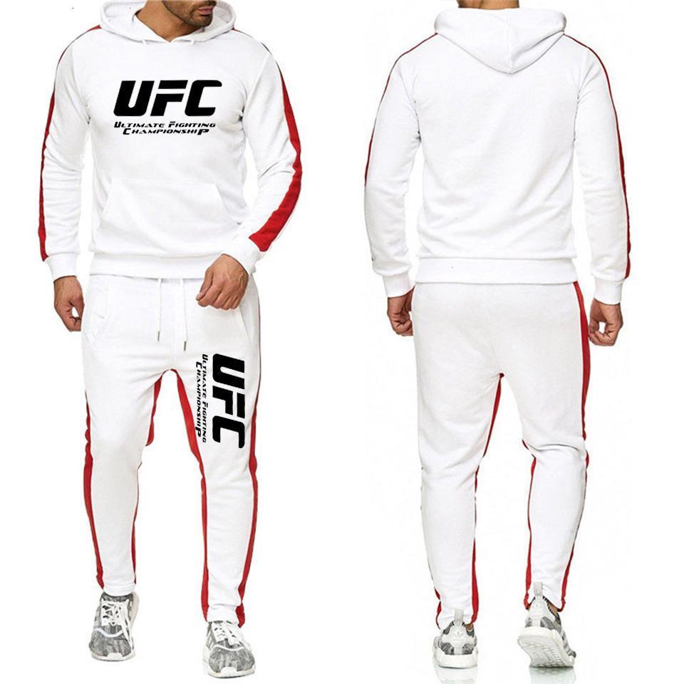 Neue UFC-Sportanzug der Männer Europäischen Kampfbrief gedruckt Pullover + Sporthosen 2-teiliger Sport-Casual-Anzug