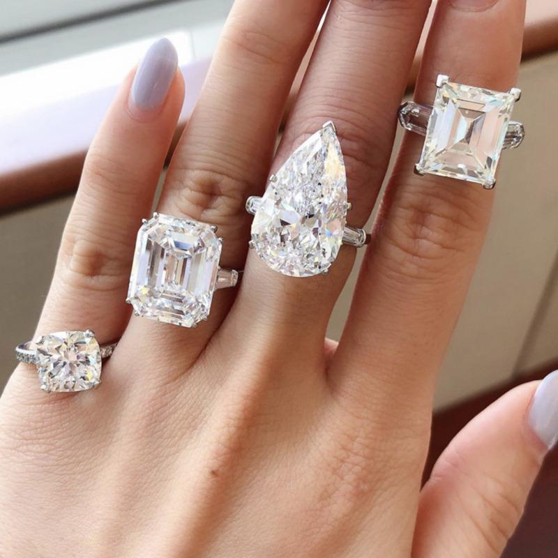 Eight cuts styles 100% 925 Sterling Silver Diamond Wedding Engagement Cocktail Women Created Moissanite Rings Fine Jewelry gift