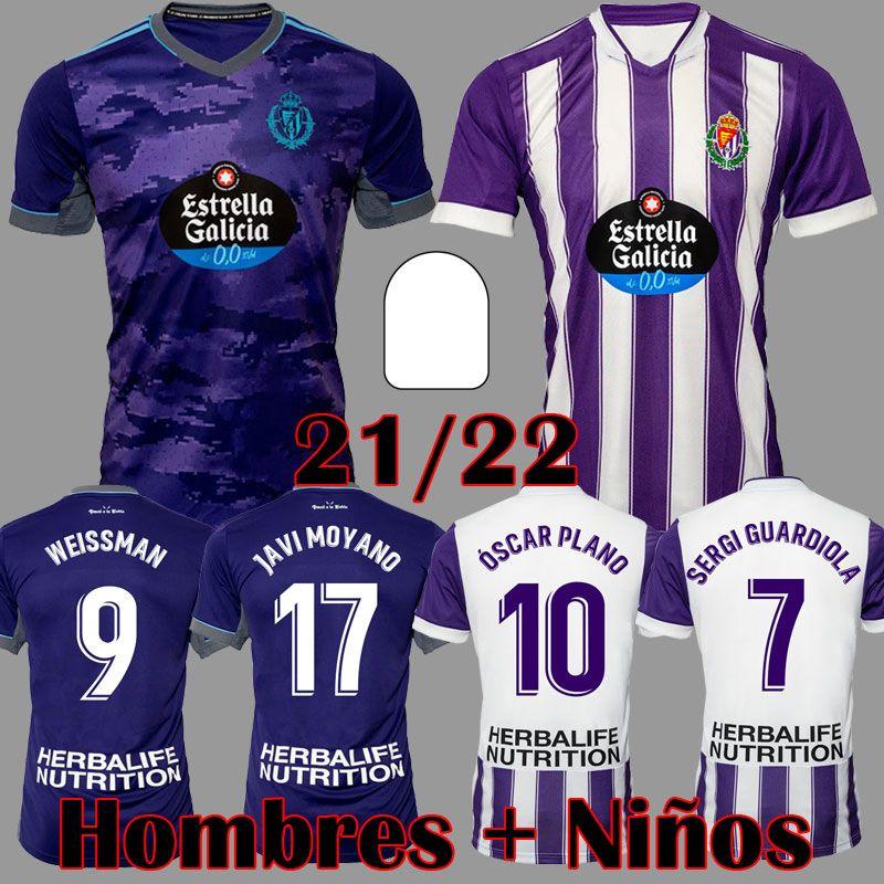 Real Valladolid Futebol Jerseys 21 22 Fede S. Sergi Guardiola Óscar Plano Weissman Camisetas de Fútbol 2021 2022 Kit Adulto Crianças Equipamentos Futebol Camisas
