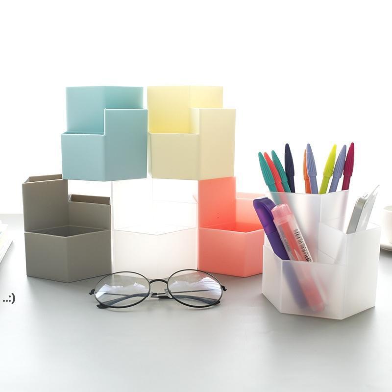 Grande capacità Desk Pen da scrivania Pencilina Matita Makeup Box Desktop Organizer Stand Case School Office Cancelleria OWD10617