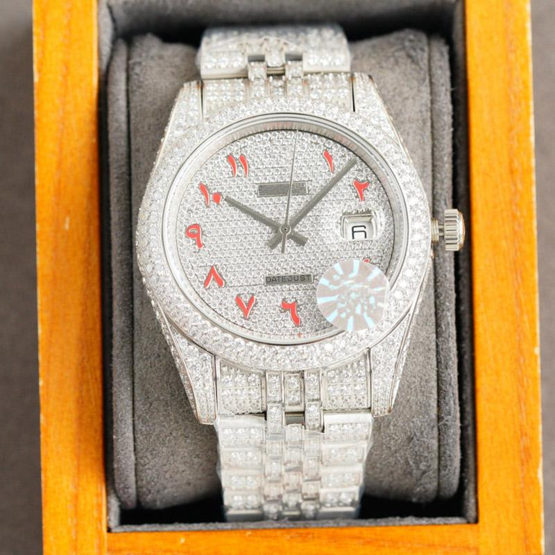 High Quality Diamond Watches Automatic Mechanical Wristwatch Mens Watch 41mm Stainless Steel Strap Sapphire Mirror Waterproof Design Diamonds Bracelet