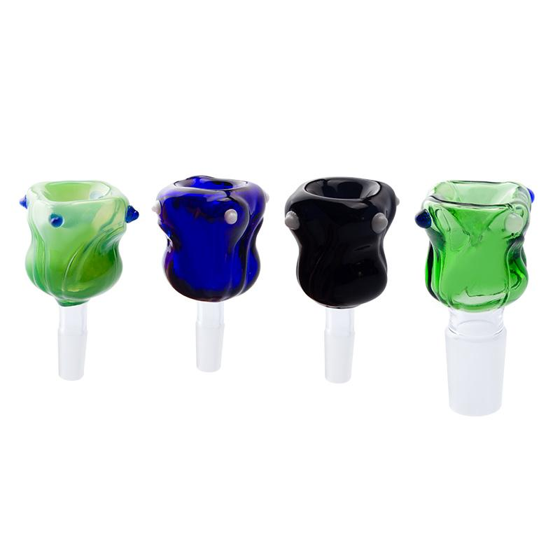 Headshop999 G058 Smoking Pipe Bowl Acessory Beautiful Flower Style 10mm 14mm 19mm Male Female Dab Rig Glass Pipes Bowls 6 Models