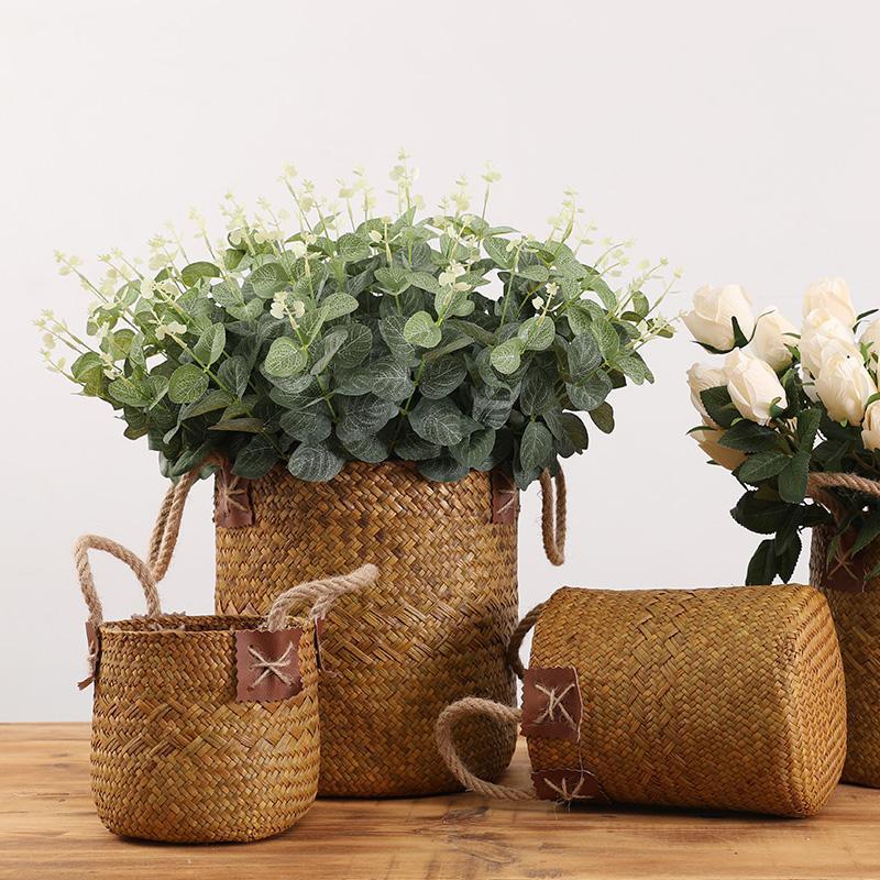 Handgemachte Rattan-Korb mit Seil Rundes Algen Home Interior Desktop Dekoration Blumenarrangement Aufbewahrungskörbe