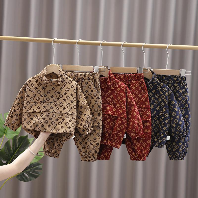 Automne Hiver Enfants Garçons 2 pièces Tenue Super Mode Pull Veste Coat Tops + Big Side Pantalon Pantalon de poche Sportswear Design TrackSuit Vêtements occasionnels Setg12901