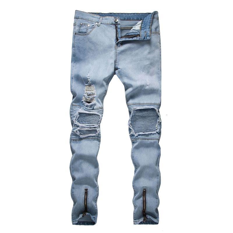 Estate 2019 New Fashion Casual Uomo Europa e Stati Uniti Trend Slim Fit con jeans a tubo dritto rotto