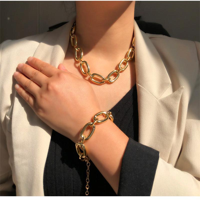 Thick Gold Oval Link Chain Bracelet Anklet For Women Men Punk Hip Hop Stainless Steel Solid Trendy Charm Jewelry Link,