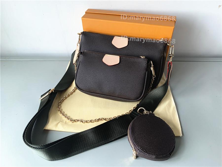 Diseñador de moda Bolsos de hombro Bolsos Multi Pochette Accessoires Monederos Cadena de mujeres Mini 3pcs Accesorios Messenger Crossbody Bag Lady Coin Moneder Wallet