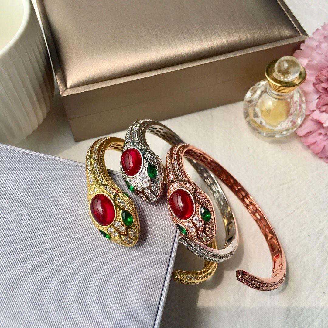 Alla moda squisito full Diamonds Ruby Princess Python Links Catena Braccialetto Cristalli Braccialetti per S925 Womengirls Wedding San Valentino regalo gioielli