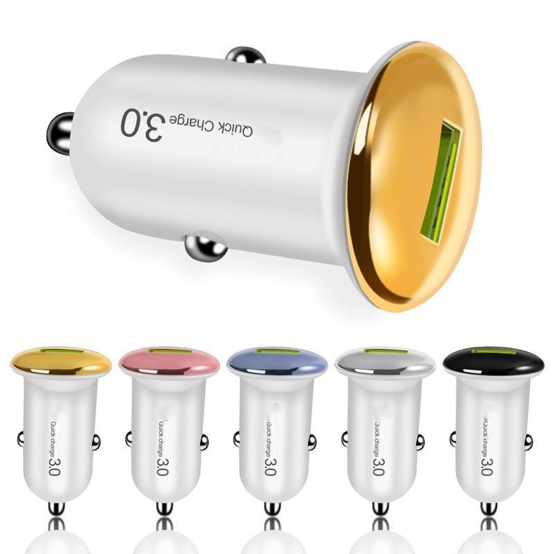 슈퍼 미니 USB 충전기 QC3.0 18W 5V 3A 자동 전원 어댑터 자동차 충전기 삼성 S8 S10 노트 10 HTC Andriod 전화 PC MP3
