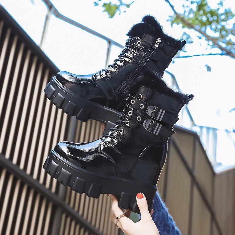 Çizmeler Ayakkabı Kadın Kış Sıcak Motosiklet İngiliz Tarzı Platformu Sneakers 10 cm Topuklar Kalın Alt Peluş Deri Woman1 Wyrv