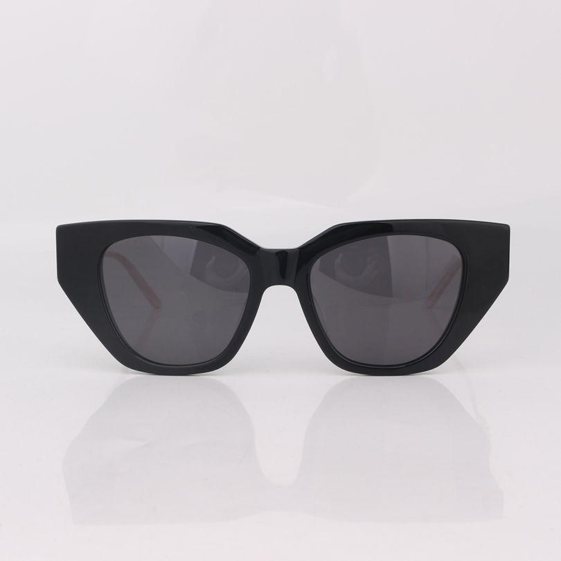Gafas de sol de moda de ojo de gato negro hombres con templos de cristal