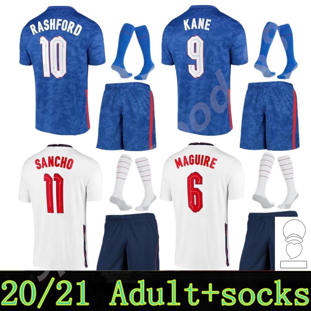 2021 2022 Kane Soccer Jersey Sterling Rashford Sancho Henderson Barkley Maguire 20 22 Camisas de futebol National Men + Kit Kits Conjuntos Uniformes