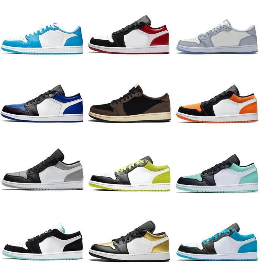 2021 Düşük 1 1 S Jumpman Basketbol Ayakkabıları UNC OG SP Travis Scotts Siyah Toe Pin Yeşil Üçlü Siyah Beyaz Erkek Kadın Eğitmenler Sneakers