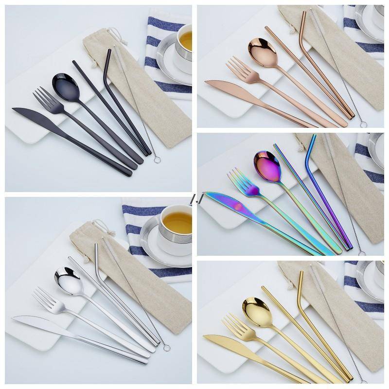 6Pcs/set Stainless Steel Cutlery Set Knife Fork Spoon Straw With Cloth Pack Kitchen Dinnerware Tableware Kit Flatware Sets DWB6408
