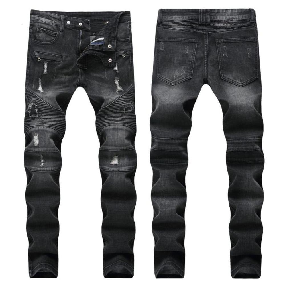 Style de printemps Style Cowboy Cowboy Street Punk Men's Denim Pants Casual Droite Droite Jeunes Pantalons de haute qualité Vente en gros