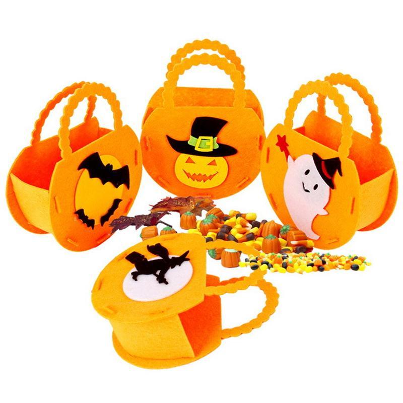 6 Styles Halloween Sac à main Decoration Sac-cadeau de bonbons pour enfants avec chapeau de sélecteur de citrouille Batbags solide / plan non tissé C70816E
