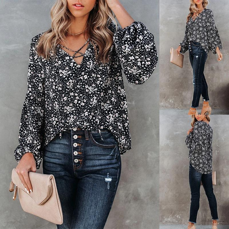 Fashion Sexy Women Blouses Shirts Casual Loose Blouse Shirt Cardigan Beach Sunscreen Suit Printed Long Sleeve Summer Spring Deep V-Neck