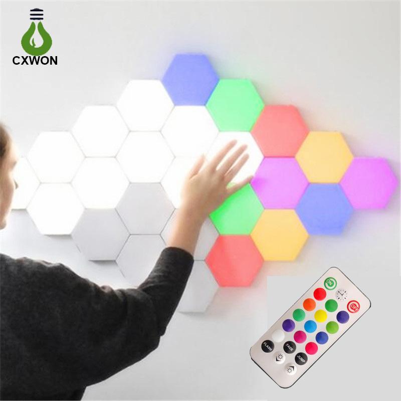 LED hexagonal lamp touch sensor remote control RGB quantum wall light 1/3/6/10 pcs hexagon lamps decorative indoor living room bedroom