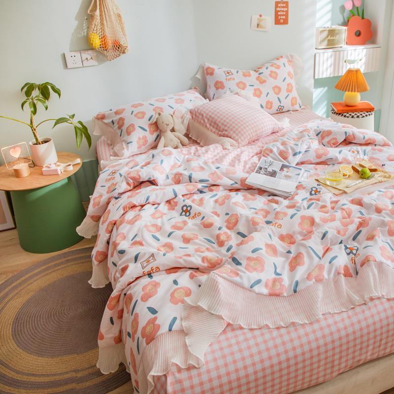 Wolke Spitze Frische Quilt 2021 Sommer Duvet Set Blatt Kissenbezug Decke Weiche Prinzessin Korean Bettwäsche Schöner Bettdecken Sets