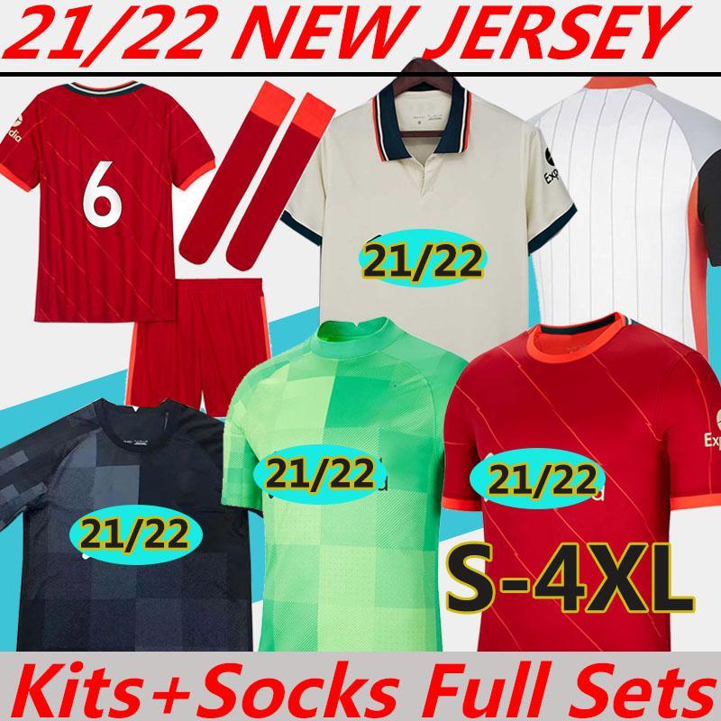 maglia da calcio Nuovo 21/22 Fan Player versione 2021 LIvErpooL formazione polo uomini donne bambini kits calzini Attrezzature complete Soccer jerseys Magliette da calcio