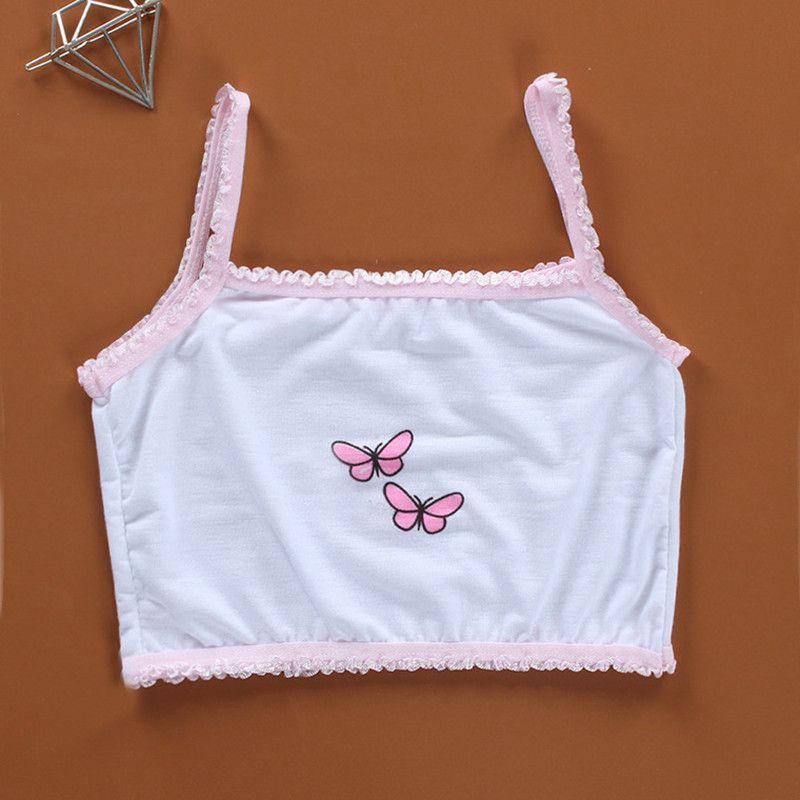 3 stück / los Kinderunterwäsche 100% Baumwolle Mädchen Tank Top Candy Farbe Unterhemd Mädchen Singlet Baby Camisole BH Tops