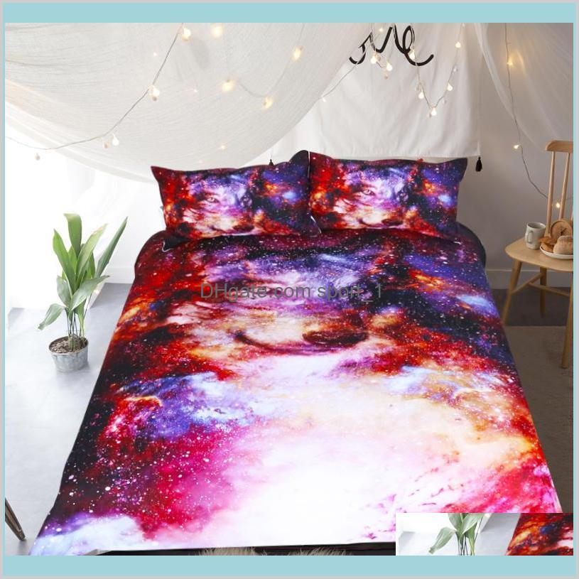 Bedding Sets Supplies Home Textiles & Garden Amazing Galaxy Wolf 3D Duvet Cover Set King Queen Double Full Twin Single Size Bed Linen