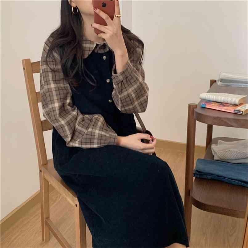 S-XL 플러스 사이즈 가을 드레스 소녀 Boho 파티 여성 빈티지 긴 민소매 sundress 여성 es robe vestido 210423
