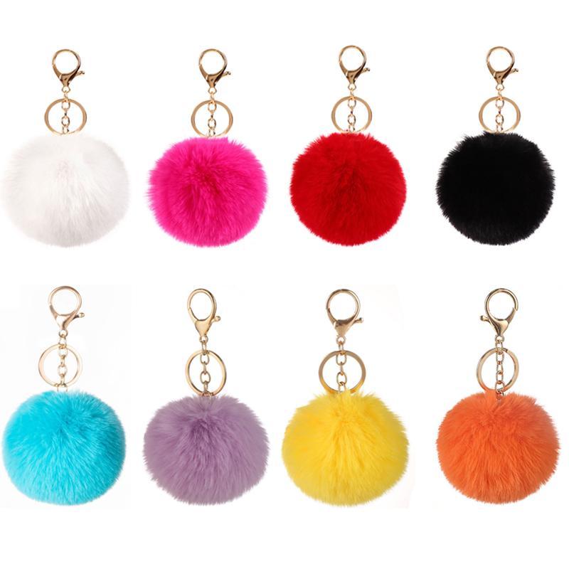 Bola de pele de coelho de moda chaveiro pingente redondo pelúcia chaveiro chaveiro decoração de bagagem chaveiro criativo jóias presente