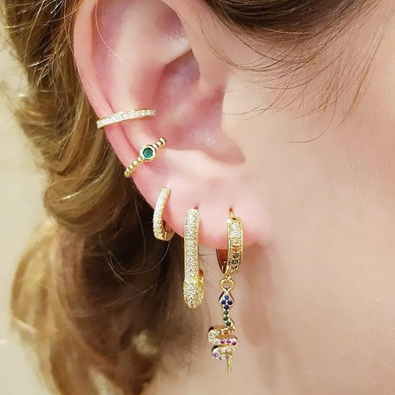 dangle dangling snake charm rainbow cz paved drop cz hoop elegance women earring sexy animal trendy Jewelry wholesale